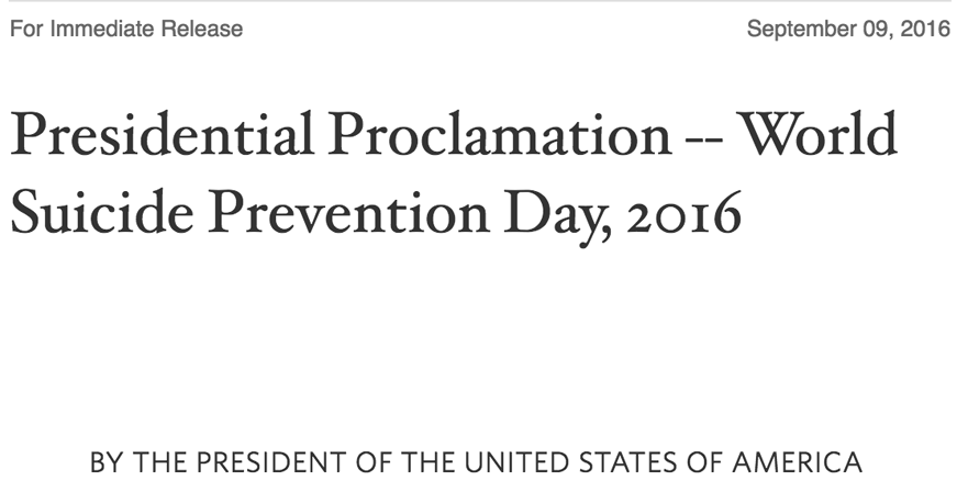 Suicide Day Presidential Proclamation