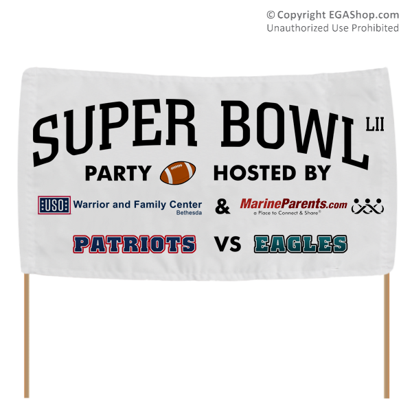 MarineParents.com Warrior Support Team Super Bowl Party Banner
