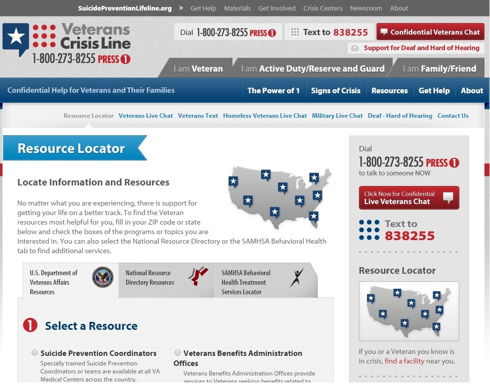 Veterans Crisis Line Resource Locator